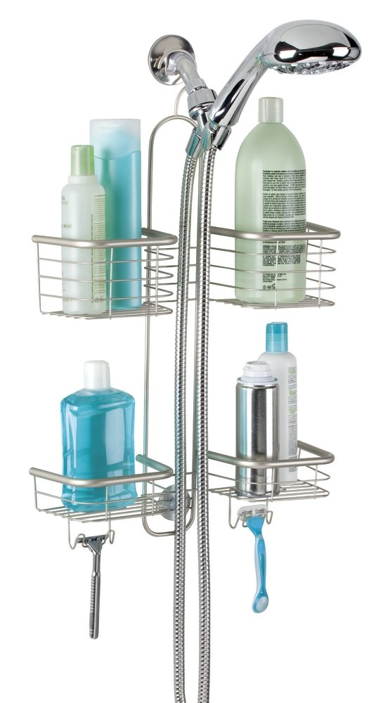 mDesign Bathroom Shower Caddy for Handheld Shower Head - Large, Satin