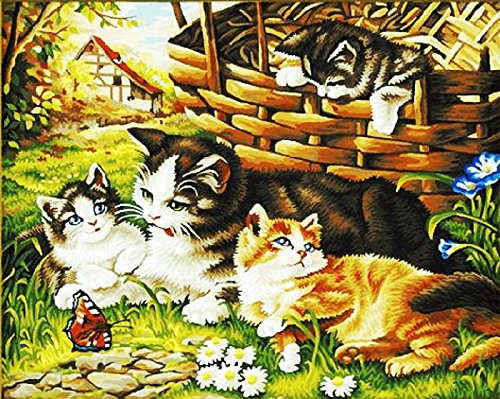 Cat Family Painting by numbers kit16x20 inch Frameless