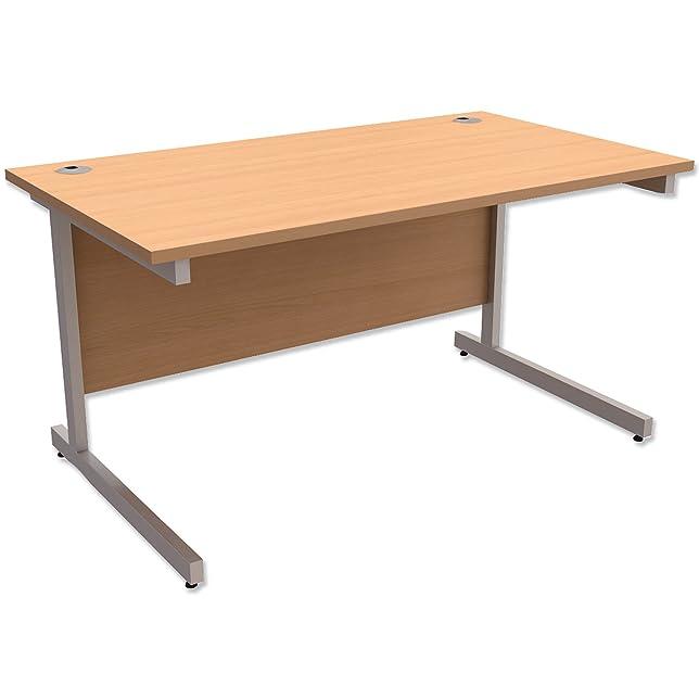 Trexus contract Desk rectangular Silver Legs W1400x D800x H725MM beech