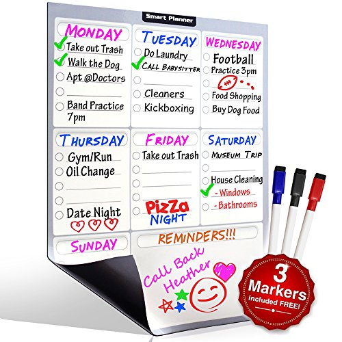 Smart Planner's Weekly Multi-Purpose Magnetic Refrigerator Dry Erase Board | Chores, To do list, Reminders Planner for Kitchen Fridge | With 3 Magnetic Dry Erase Markers Included (Fridge Whiteboard Magnetic compare prices)