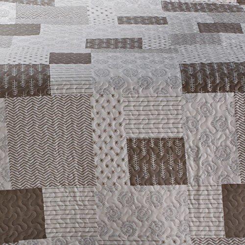 San Carlos Guiral - Colcha bouti patchwork, relleno ligero, esquinas redondeadas, color gris