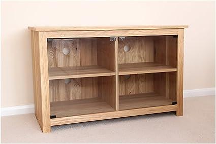 Madera de roble de la unidad de alta fidelidad, pie y armario en 4 compartimentos con puertas de cristal, ideal mesa baja para Wondrous Wall