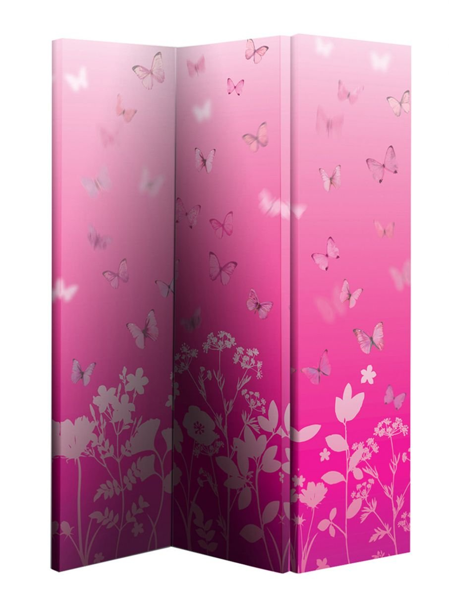 Arthouse Double Sided Room Divider Screen 3 Panels 2 Fold Butterfly Meadow 150cm x 120cm x 2.5cm (008102)       reviews and more information