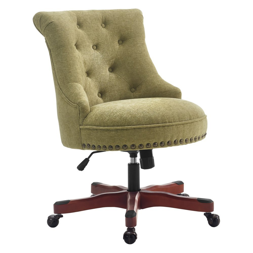 Sinclair Office Chair Green - Dark Walnut Wood Base 0