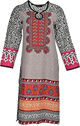 Artisan Women's Cotton Straight Kurta (CZF10036_M, M)