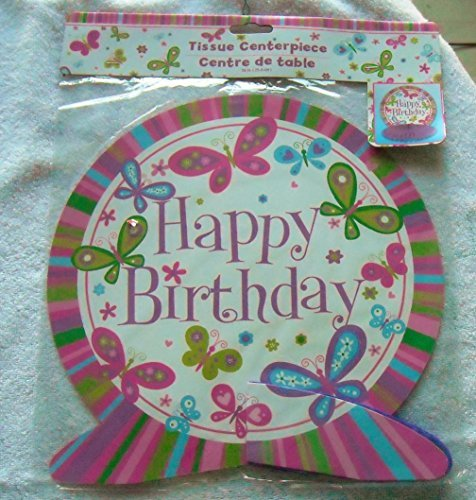 Happy Birthday Tissue Centerpiece - 10 inch Circle with HB & Butterflies, sits on Purple Tissue Base by Greenbrier - 1