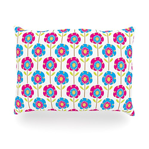 "Kess Inhouse Apple Kaur Designs ""Lolly Flowers"" Blue Pink Oblong Rectangle Outdoor Throw Pillow, 14 By 20-Inch front-1013359"