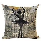 Ballerina Print Home Decorative Bed Cushion Throw Pillow Case Vintage Cotton Linen Square Pillows,18inch
