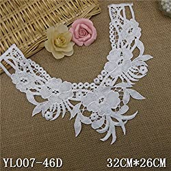 New 1pcs White Embroidered Lace Polyester Flower Lace Neckline Collar Applique Motif Patches Scrapbooking Sewing Accessories 46D