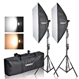 Emart Photography Softbox Lighting Kit, Photo Equipment Studio Softbox 20 x 27, 45W Dimmable LED with Double Color Temperature for Portrait Video an