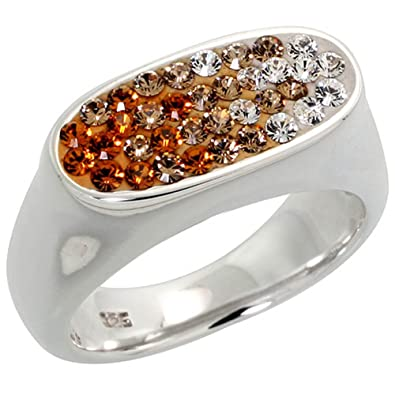 Sterling Silver wide, Oval Ring Clear & Citrine-colored CZ Stones