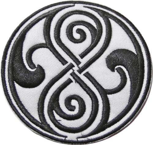"""Doctor Who Seal Of Rassilon Black On White 3 1/2"""" Diameter Embroidered Patch"""