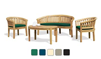 WIMBLEDON 7 PIECE PREMIUM PLANTATION TEAK OUTDOOR COFFEE TABLE SET (Fully Assembled)