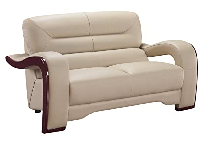Global Furniture Isaiah Collection Bonded Leather Matching Love Seat, 992, Cappuccino
