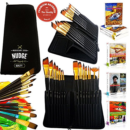 NUDGE® PREMIUM Paint Brushes (15 Piece) Art Set & Kit ~ Acrylic , Watercolor , Oil , Gouache & Face Painting