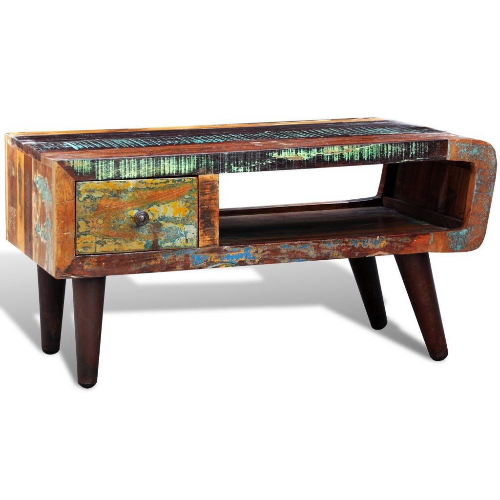 vidaXL Antique-style Reclaimed Wood Coffee Table Curved Edge 1