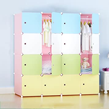 Children's bedroom closet assembly simple combination wardrobe storage cabinets color DIY resin single folding wardrobe cabinet
