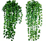 ROZZERMAN 観葉植物 人工 アイビー 2本 緑 縦90cm 壁掛け インテリア アンティーク 雑貨 造花 フェイク 壁掛 グリーン 植物 吊り n49