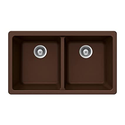 Houzer M-200U EARTH Quartztone Series Granite Undermount 50/50 Double Bowl Kitchen Sink, Brown