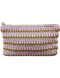 Shuvam Women's Handbag Silver, Green & Pink (Whb380)