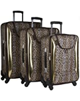 3 Piece Tan & Brown Leopard Print Luggage Set Travel