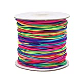 Dreamtop 100m Rainbow Color Elastic Cord Beading Thread Stretch String Craft Cord, 1mm