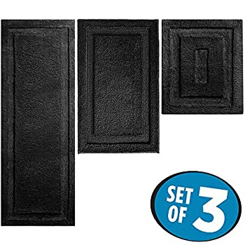 mDesign Soft Microfiber Polyester Spa Rugs for Bathroom Vanity, Tub/Shower - Water Absorbent, Machine Washable - Includes Plush Non-Slip Rectangular Accent Rug Mats in 3 Sizes - Set of 3, Black