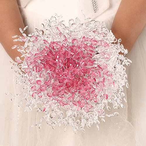 Zebratown Acrylic Crystal Pearl Silk Roses Bridal Bridesmaid Wedding Bouquet (Pink)