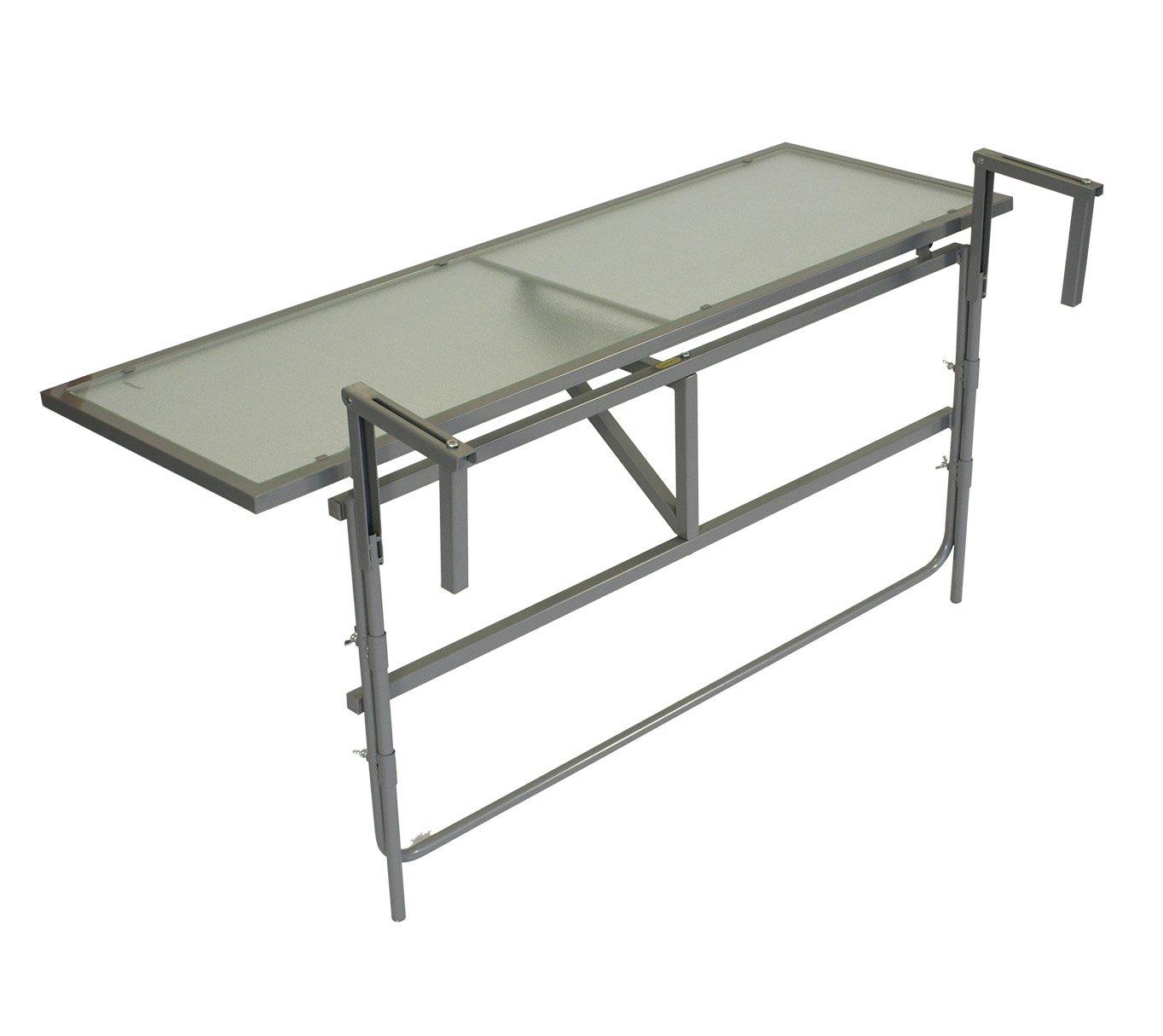 Balkonhängetisch 120x40cm, Stahl grau + Sicherheitsglas, klappbar