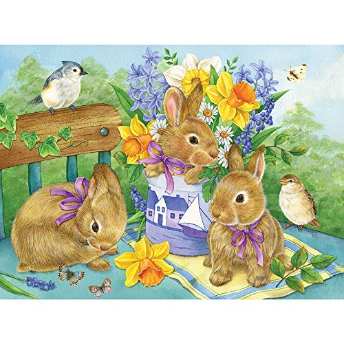 Bits and Pieces - 1000 Piece Jigsaw Puzzle - Bunny Bouquet, Bunny - by Artist Jane Maday - 1000 pc Jigsaw