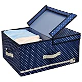 Jumbo Foldable Thick Polyester Storage Bin Clothes Organizer Box with Lid and Removable Divider, 60 L, Blue Dot with Navy Blue Trim