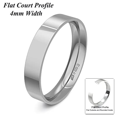 Xzara Jewellery - Palladium 500 4mm Flat Court Profile Hallmarked Ladies/Gents 3.1 Grams Wedding Ring Band