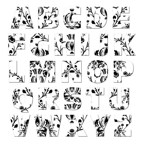 Graphics and More Alphabet Letters Uppercase Floral Damask Black White MAG-NEATO'S(TM) Novelty Gift Locker Refrigerator Vinyl Magnet Set (Floral Refrigerator Cases compare prices)
