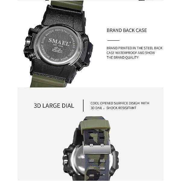 RELOJ KXAITO PARA HOMBRES, Deportes al aire libre impermeable Reloj militar Fecha Tácticas multifunción LED Alarma Cronómetro (Camo_Black)