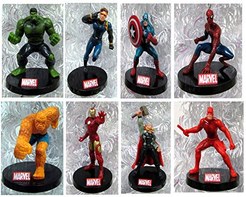 """MARVEL Comics 10 Piece Christmas Ornament Set Featuring Iron Man, Wolverine, Captain America, Hulk, Thor, Spiderman, Thing, Daredevil, Silver Surfer and Cyclops, Ornaments Average 3"""" to 5"""" Tall"""