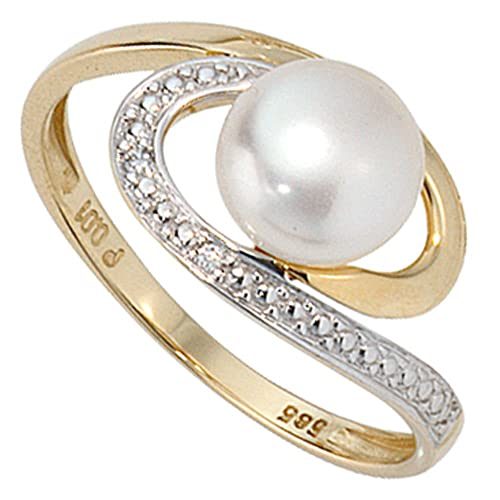 Jobo Women's Ring 585 White Gold with 1 Freshwater Pearl and 2 Brilliant-Cut Diamonds