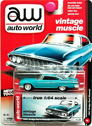 Auto World 1:64 Vintage Muscle 1961 Dodge Dart Phoenix Teal No. 5