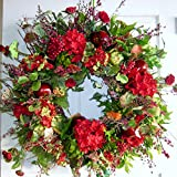 Wispy Red Flowers and Fruit Handcrafted Dried and Preserved Floral Wreath (20-22 inch)