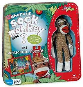 Where Is Sock Monkey? Game and Lenticular Puzzle Tin