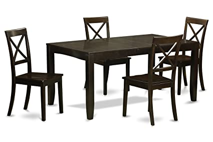 East West Furniture LYBO5-CAP-W 5-Piece Dining Table Set, Cappuccino Finish
