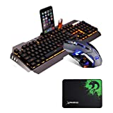 LexonElec@ Technology Keyboard Mouse Combo Gamer Wired Orange Yellow LED Backlit Metal Pro Gaming Keyboard + 3200DPI 6 Buttons Mouse + Mouse Pad for Laptop PC (Black & Yellow Backlit Mute Mouse) (Color: Black & Mute Mouse)