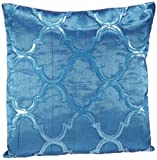 Shahenaz Home Shop Kyrah Sequence Geometry Poly Dupion Cushion Cover - Turquoise
