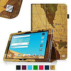 Fintie LG G Pad X 10.1 / G Pad II 10.1 Folio Case - Premium PU Leather Cover with Auto Sleep/Wake for LG G Pad X10.1 (4G LTE AT&T V930) / G Pad 2 V940N 10.1 Inch Android Tablet, Map Brown