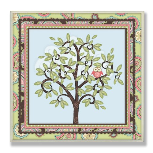 The Kids Room by Stupell Pink Owl in a Tree with a  Paisley Border Square Wall Plaque