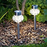 Set of 2 Warm White LED Stainless Steel Solar Garden Stake Lights by Lights4fun