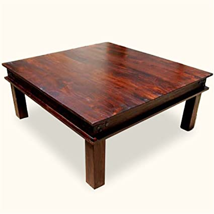 Rustic Furniture Solid Wood 34 Inches Large Square Cherry Finish Cocktail Sofa Coffee Table