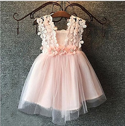 Baby Girls Sleeveless Lace Wedding Vintage Birthday Party Princess Flower Dress 1