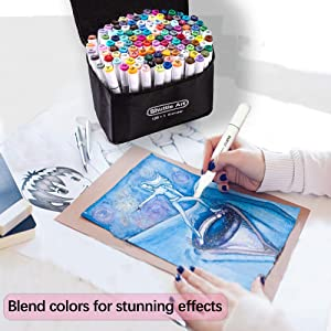 121 Colors Dual Tip Alcohol Based Art Markers,120 Colors plus 1 Blender Permanent Marker 1 Marker Pad with Case Perfect for Kids Adult Coloring Books Sketching Card Making (Color: 172 Colors Art Markers, Tamaño: 121 Colors Art Markers)
