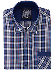 Your Desire Shirts Men Cotton White And Blue Formal Shirt