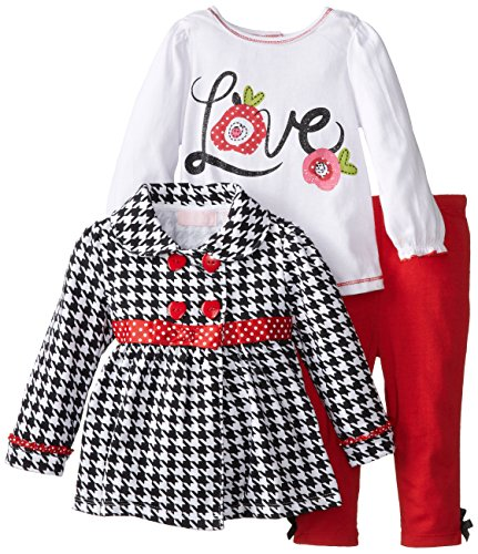Kids Headquarters Baby-Girls Infant Jacket With Tee And Red Pants, Black/White, 24 Months front-631685
